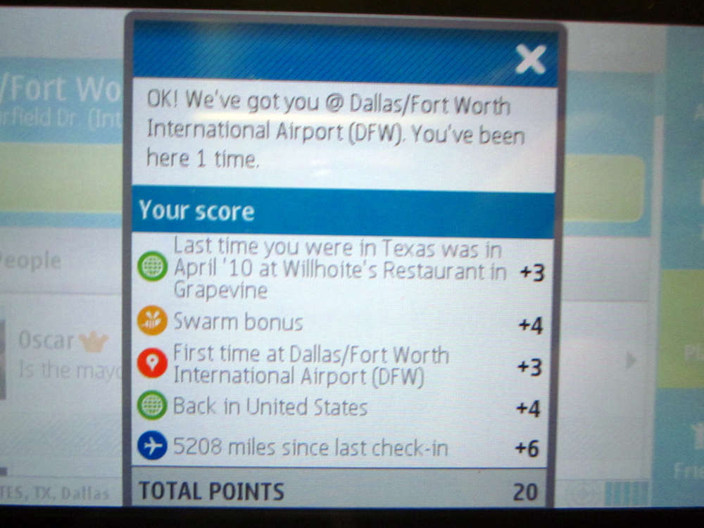 foursquare check-in - first time back in america!