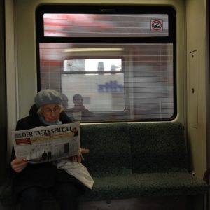An old lady in the u-bahn
