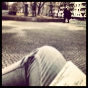 Sitting on a park bench in Berlin