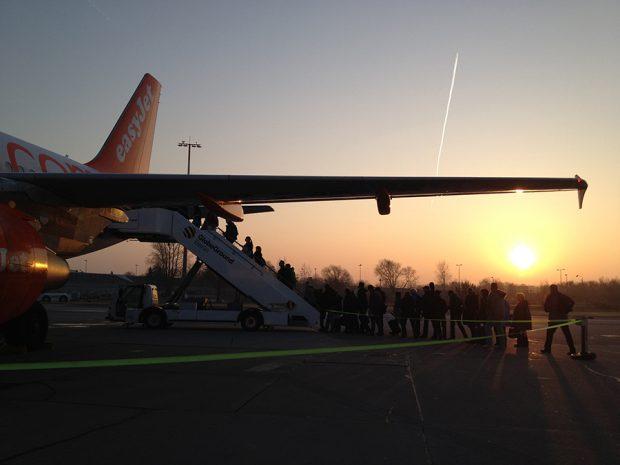 Early morning easyJet flight