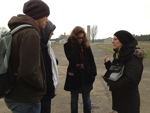 Tour group at Sachsenhausen Concentration Camp memorial