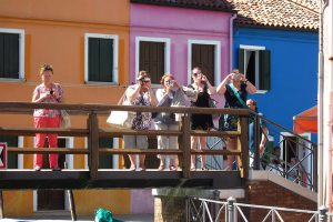 Tourists on Burano island