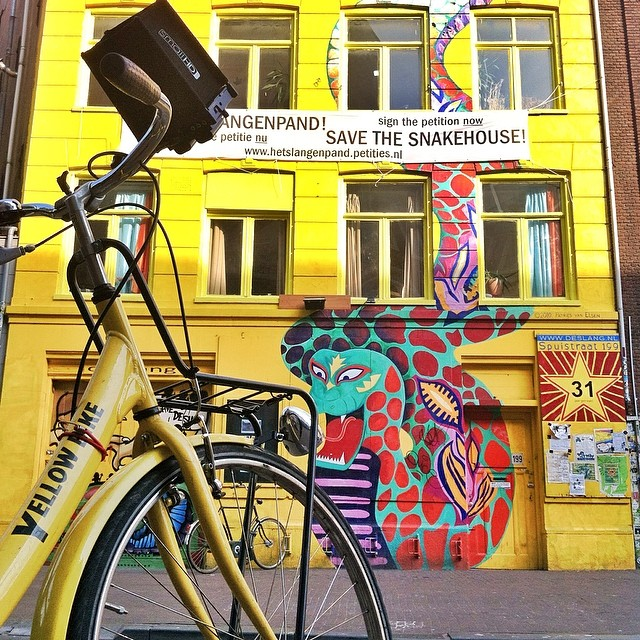 The Spuistraat street is full of former squat houses and graffiti. We rented bikes at the nearby Yellow Bike rental shop.