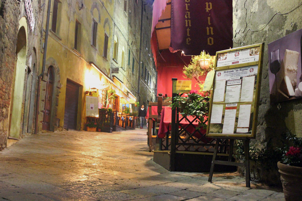 Volterra, Italy at night