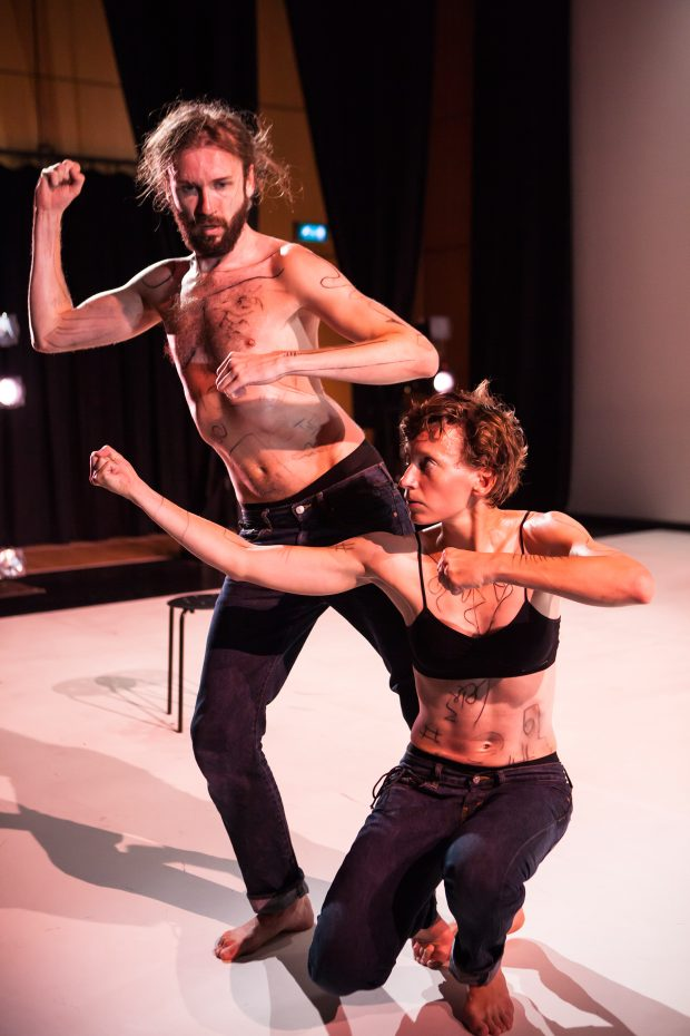 Tereza Ondrová and Peter Šavel in Boys Who Like to Play with Dolls (Photo by Maria Falconer)