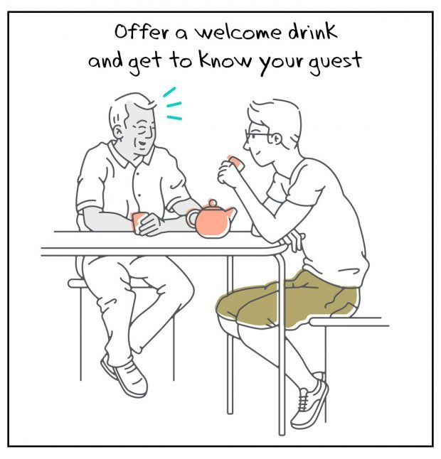 Airbnb Host Tips - Offer a welcome drink and get to know your guest