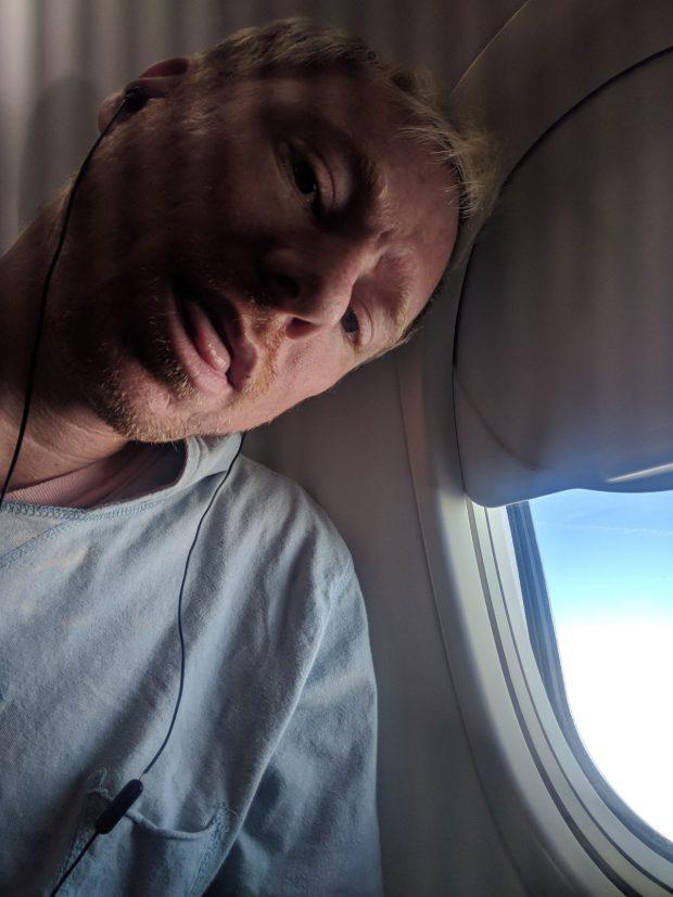 airplane selfie - listening to music